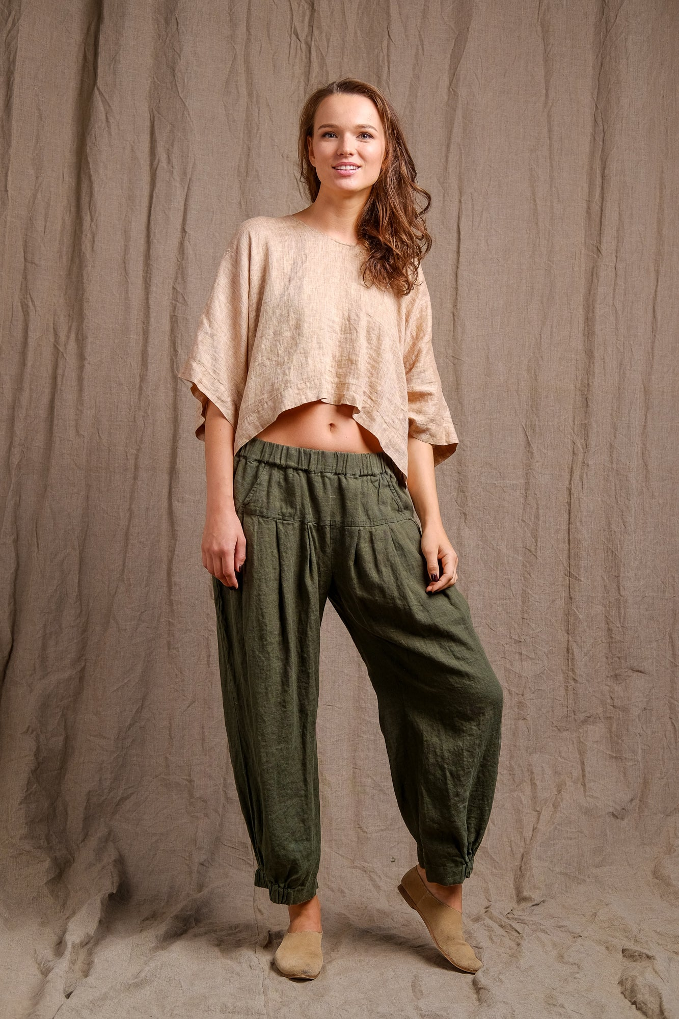 organic and pure linen top, green linen pants, linen clothing, flax outfit