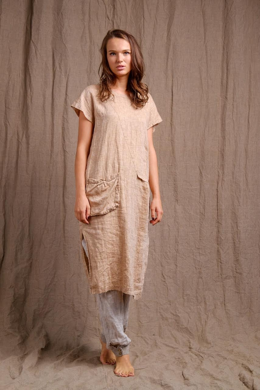 short sleeve  golden linen pocket dress dress, organic clothing,