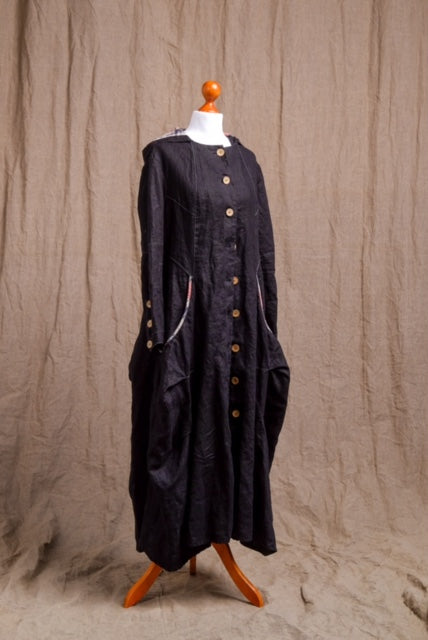 black linen long coat with long pockets and front buttons