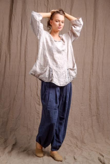 pure linen pocket top and navy pants, high quality flax clothing