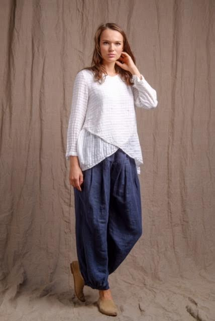 organic linen clothing, long sleeve linen top, navy pants, linen outfit
