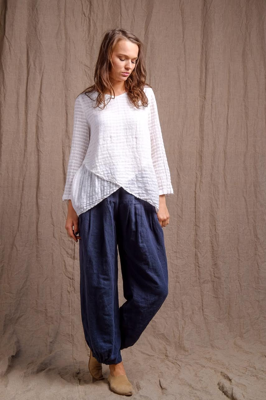 white linen top with navy organic dyed navy pants, classy and compy outfit