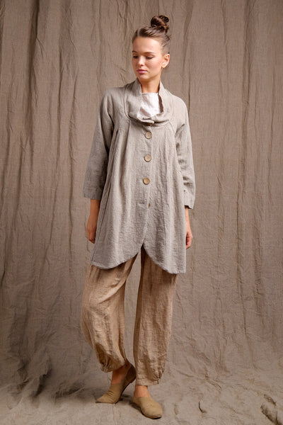 pure, organic and natural linen collar coat wit front buttons
