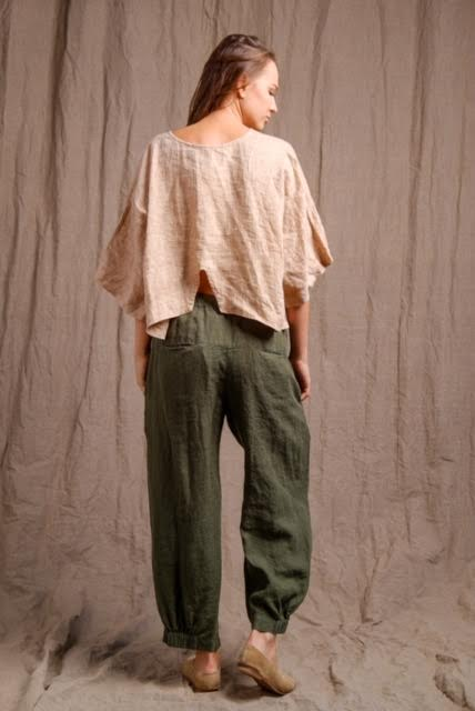 beautiful outfit, pure linen top and pants, organic clothing