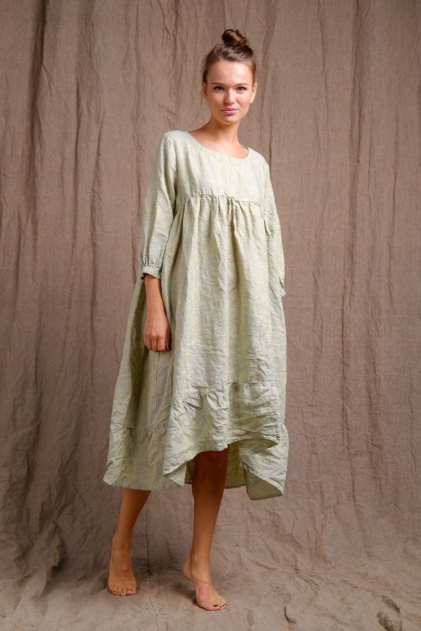 organic linen dres, delicate outfit, long sleeve linen dress