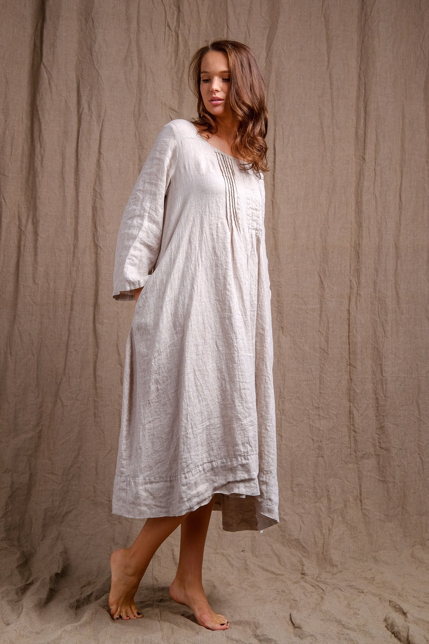 natural white linen tank dress, organic tank dress, linen clothing, short sleeve natural linen dress