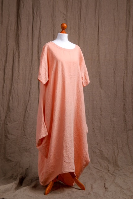 natural peach linen tank dress, organic tank dress, linen clothing, short sleeve natural linen dress