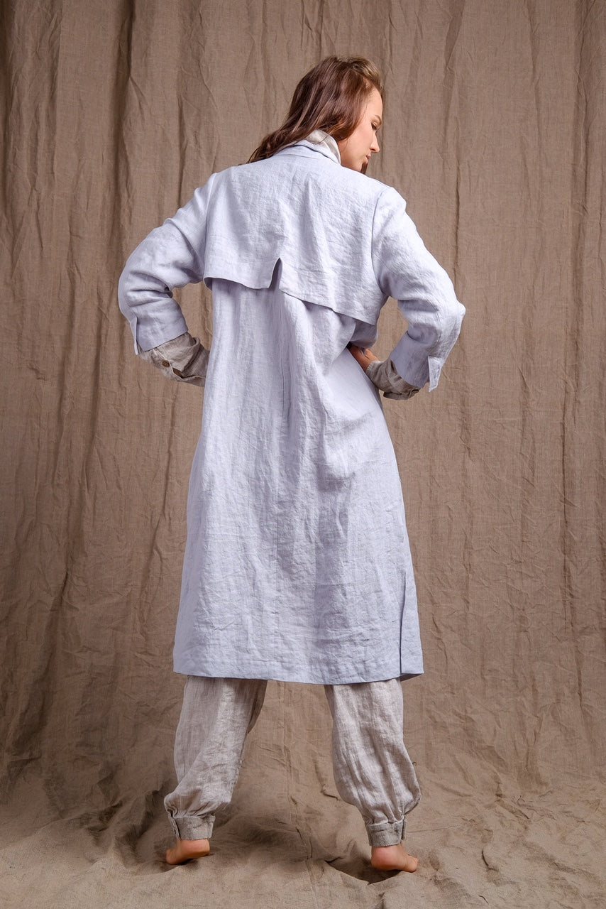 linen long  coat back detail, organic linen outfit