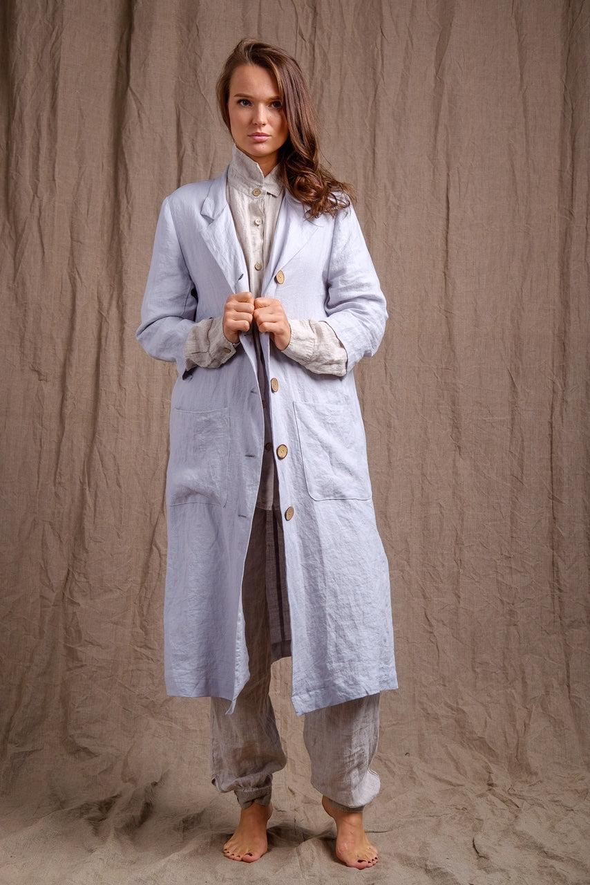 linen coat with front buttons and pure flax pants, vintage outfit