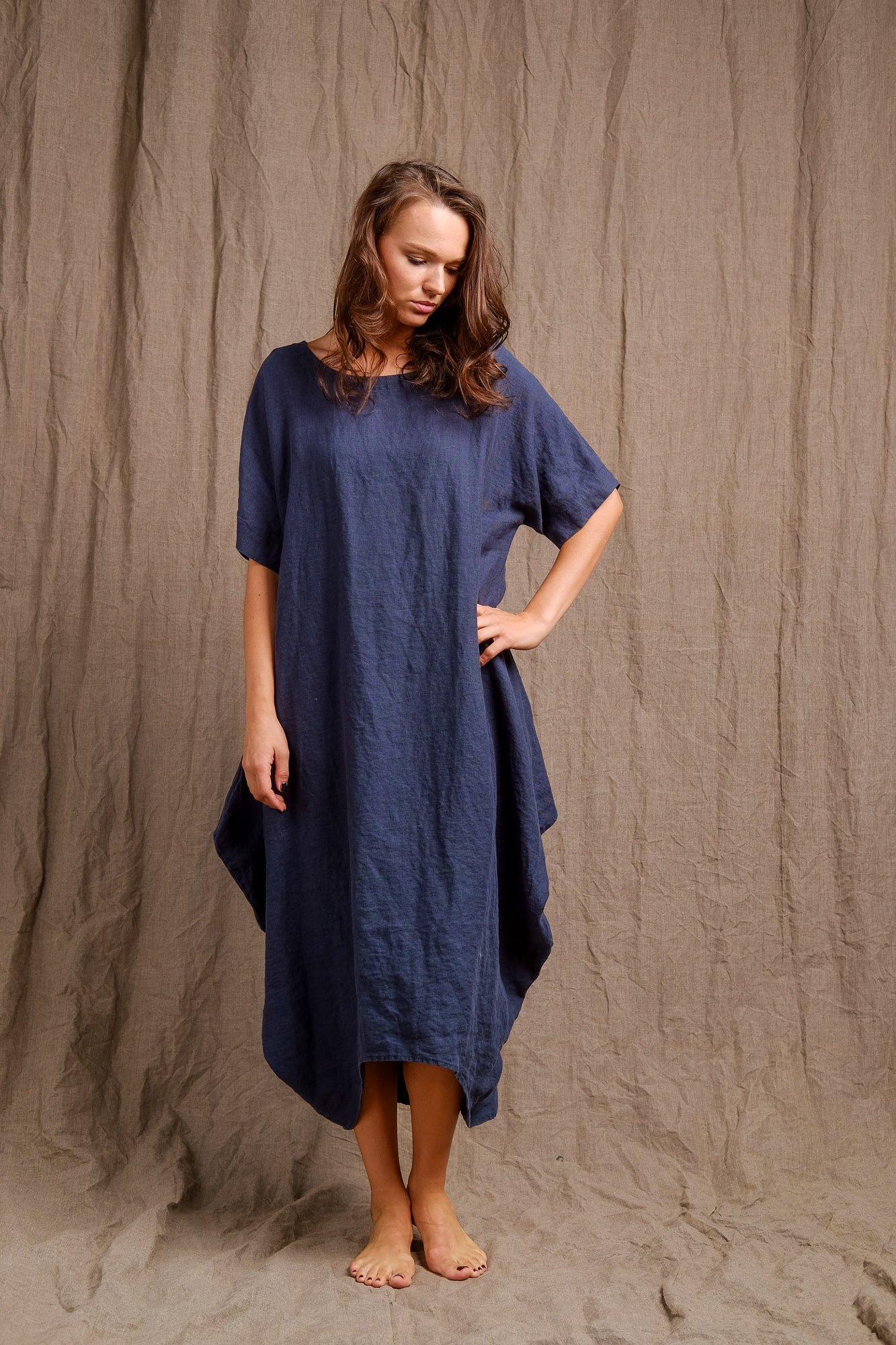 navy linen tank dress, organic dyed tank dress, linen clothing, short sleeve dyed linen dress
