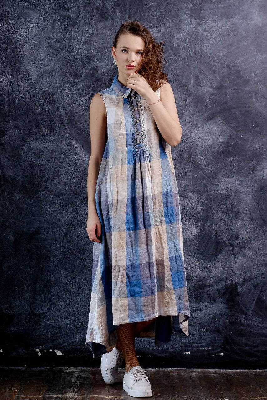 long colorful linen tank dress with front details