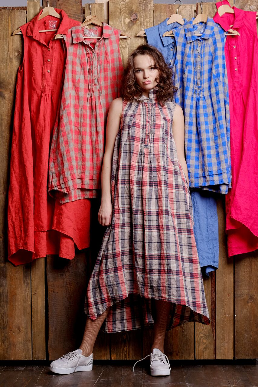 pure linen, colorful long linen dress with front details, no sleeves