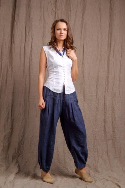 pure linen, casual outfit, top and navy comfy pants