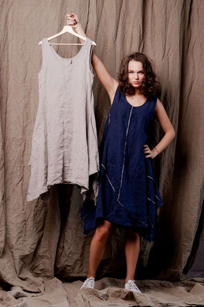 linen blue dress, sleeveles linen tank dress