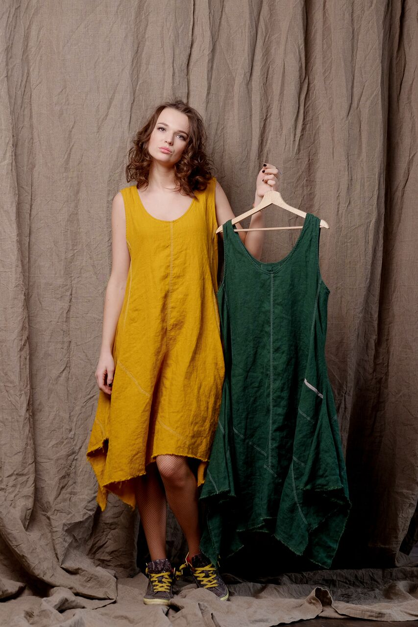 linen dress, dyed linen, sleeveless linen tank dress