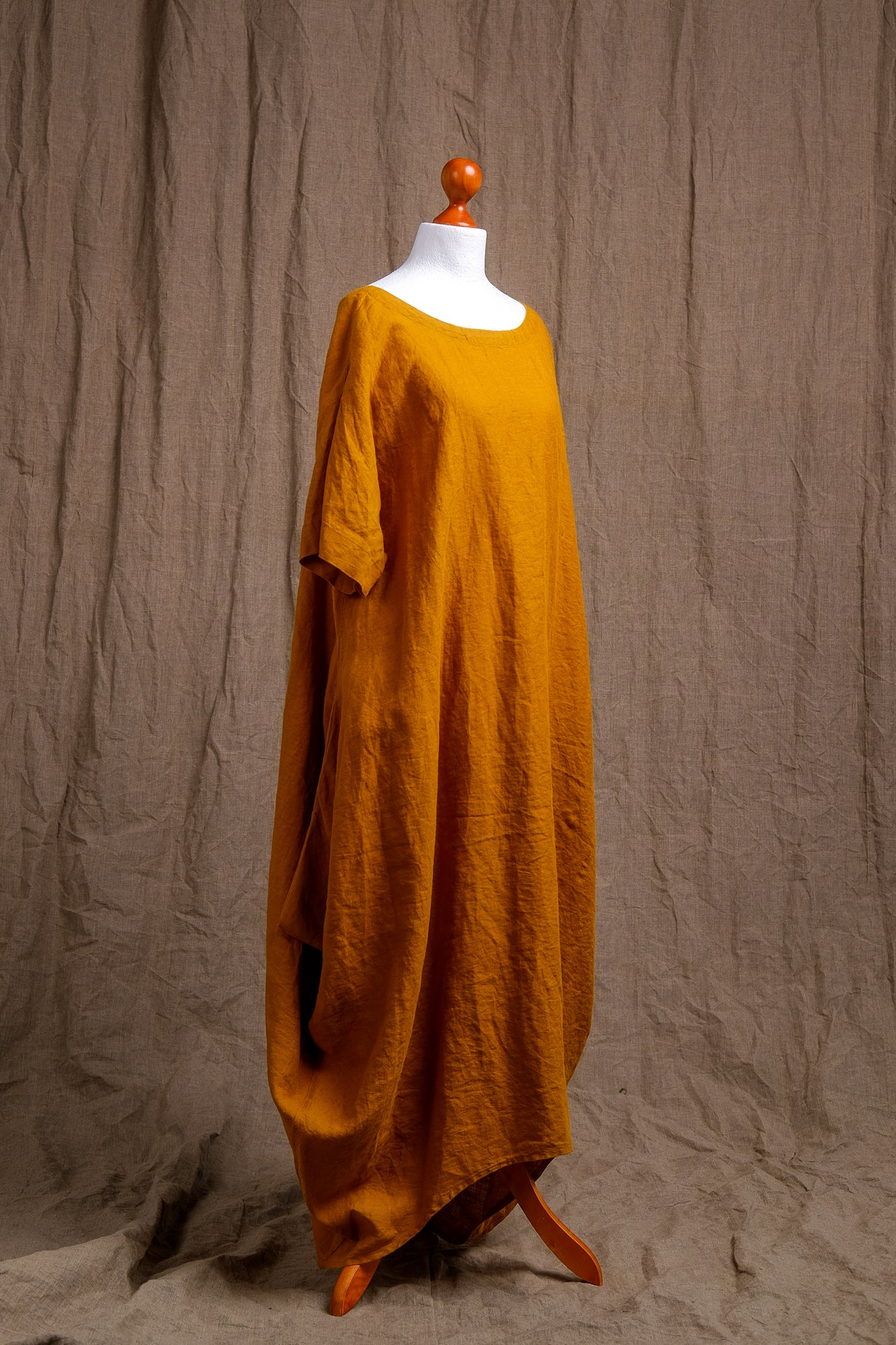 natural orange linen tank dress, organic tank dress, linen clothing, short sleeve natural linen dress