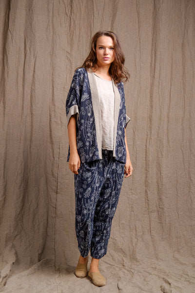printed linen vest with beautiful details, color blue