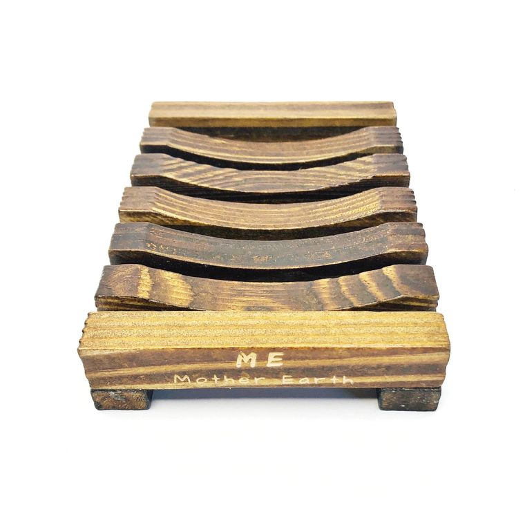 Stained Wood Bamboo Soap Dish