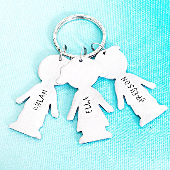 Children and Grandchildren Custom Keychain with Boys and Girls