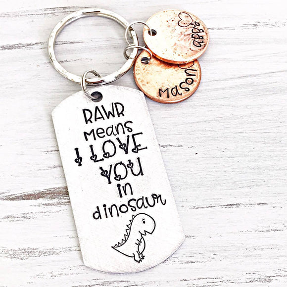 Rawr Means I Love You in Dinosaur Keychain for Dad, Father's Day Penny Keychain Gift