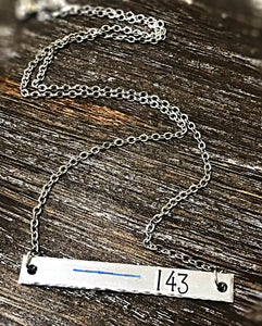 Thin Blue Line Police Hand Stamped Custom Bar Necklace