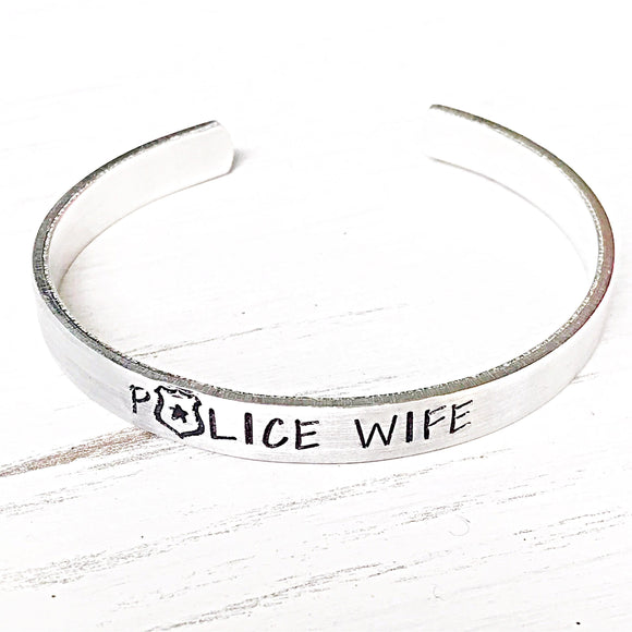 Police Wife Cuff Bracelet, Police Jewelry, Police Wife, Jewelry for Wife