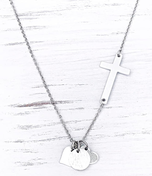 Sideways Cross Necklace with Charms for Kid's Names