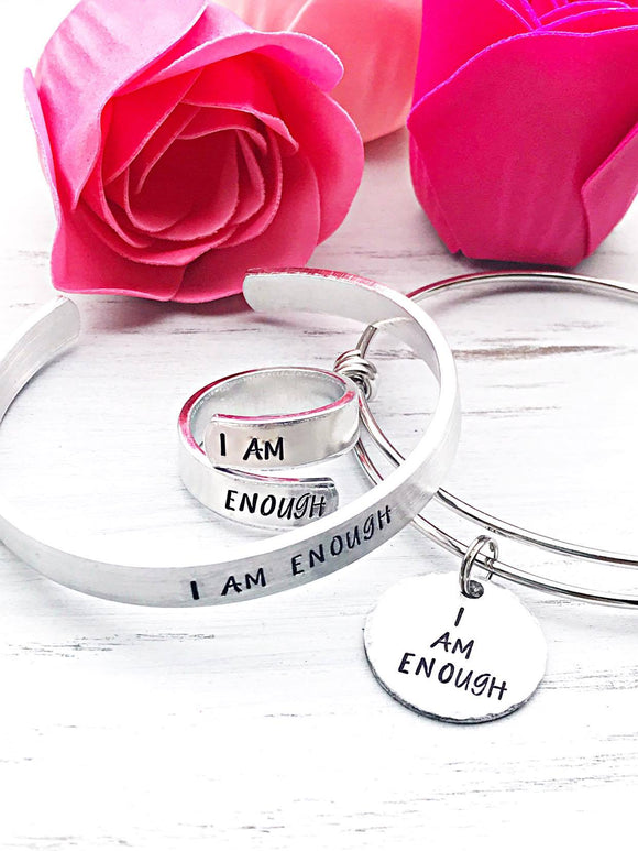 I am Enough Hand stamped Wrap Ring, Cuff Bracelet, or Bangle Bracelet