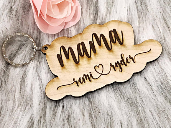 Mama Keychain with Names - handmade from white birch wood