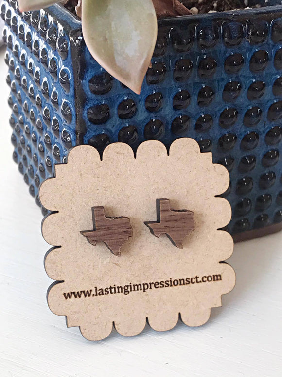 Wholesale | 1 pair | USA Walnut Wood State Earring Studs