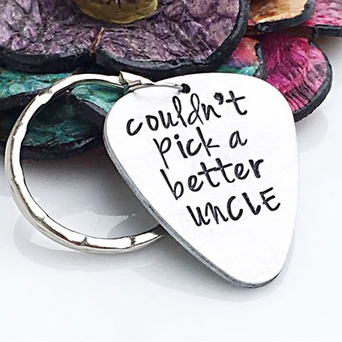 Guitar Pick Keychain-Hand stamped handmade Custom Keychain for Dad, Uncle, Grandpa, Father's Day Gift - Lasting Impressions CT