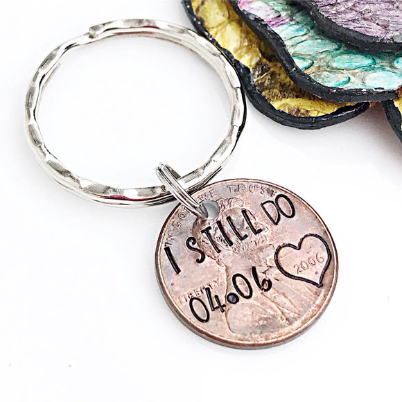 Penny Keychain, Anniversary Gift, Copper Anniversary Gift, Penny Anniversary, I Still Do, Wedding Anniversary Gift