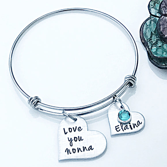 Personalized Charm Bracelet for Nonna, Grandmother Gift, Grandparent's Day Gift, Personalized Grandma Bracelet