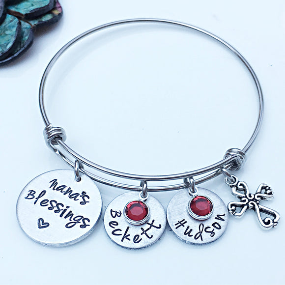 Personalized Hand Stamped Nana's Blessings Gift for Grandmother Silver Grandchildren's Names Bangle Bracelet