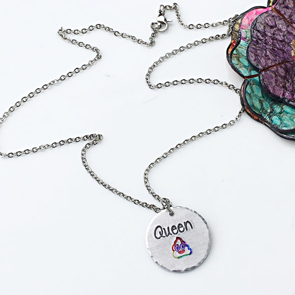 Queen Poop Rainbow Poop Emoji Handstamped Handmade Funny Children's Necklace-Queen of the Poop