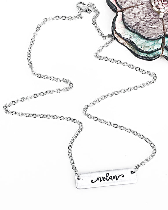 Horizontal Name Bar Necklace in Silver Aluminum Mother's Necklace Gift for Mom - Lasting Impressions CT