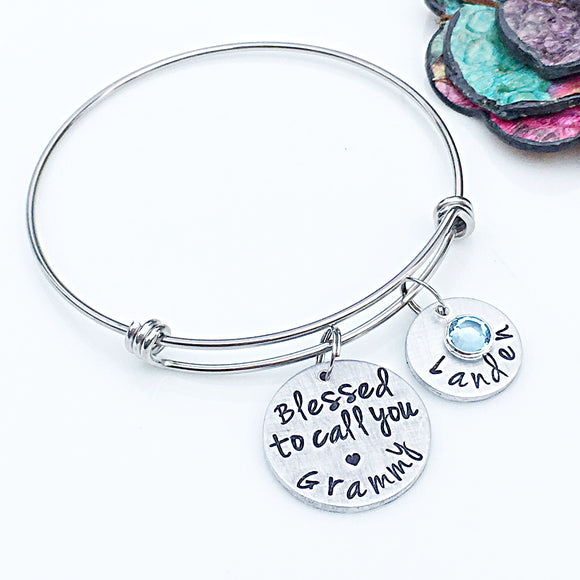 Personalized Grammy Bracelet-Hand Stamped Handmade Grandmother Gift-Blessed Grandma,Mother's Day Gift