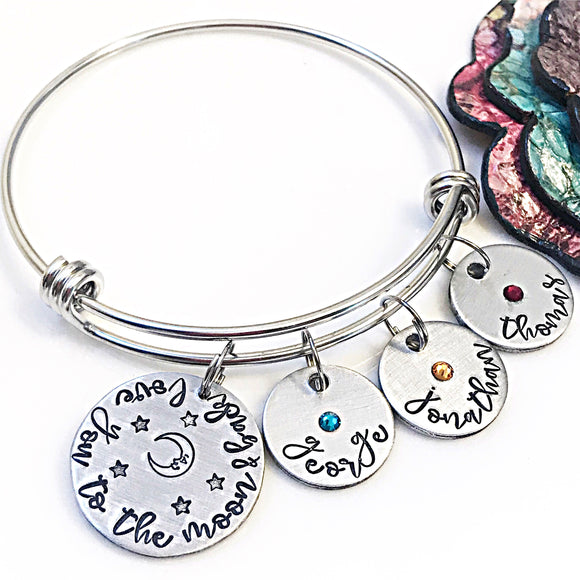 Love you to the Moon & Back Bracelet, Bangle Bracelet for Mom, Birthstone Bracelet - Lasting Impressions CT