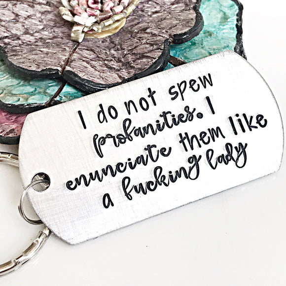 Mature Hand Stamped Keychain, Funny Keychain, Gifts for Friends, Snarky Keychain