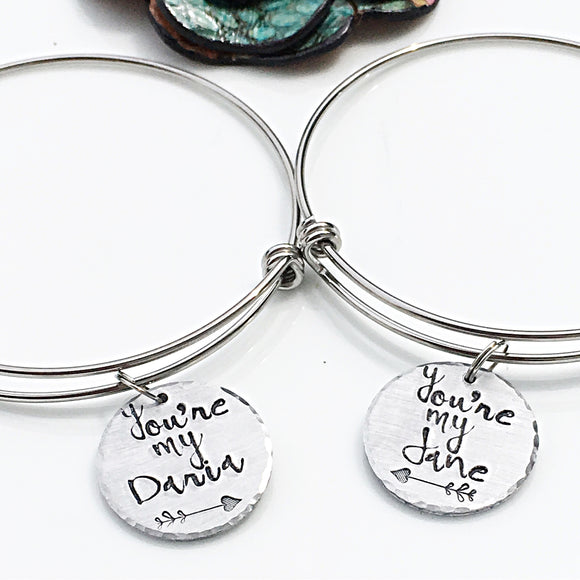 Custom Handmade Handstamped Best Friend Gift-Best Friend Charm Bracelet Set-Daria and Jane Bangles-90s Kids - Lasting Impressions CT