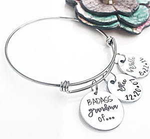 Personalized Grandchildren Bangle Charm Bracelet for Grandma/Nonna/Mimi/Granny/Gram/Badass