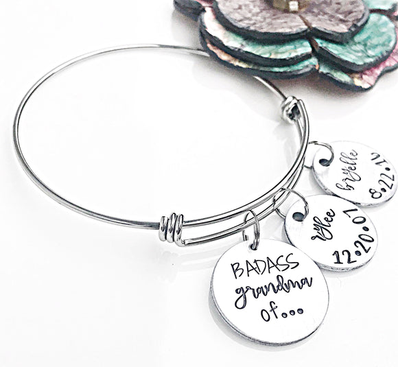 Personalized Grandchildren Bangle Charm Bracelet for Grandma/Nonna/Mimi/Granny/Gram/Badass - Lasting Impressions CT