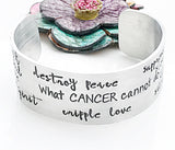 Cancer Awareness Hand Stamped Custom Cuff Bracelet, What Cancer Cannot Do Bracelet, Cancer Bracelet, Custom Cuff - Lasting Impressions CT