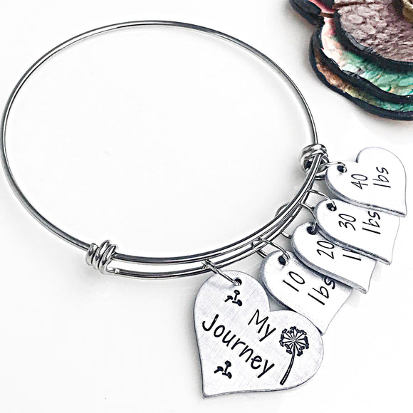 Weight Loss Tracker Handstamped Handmade Bangle Bracelet, Weight Loss Gift, Weight Loss Charm Bracelet - Lasting Impressions CT