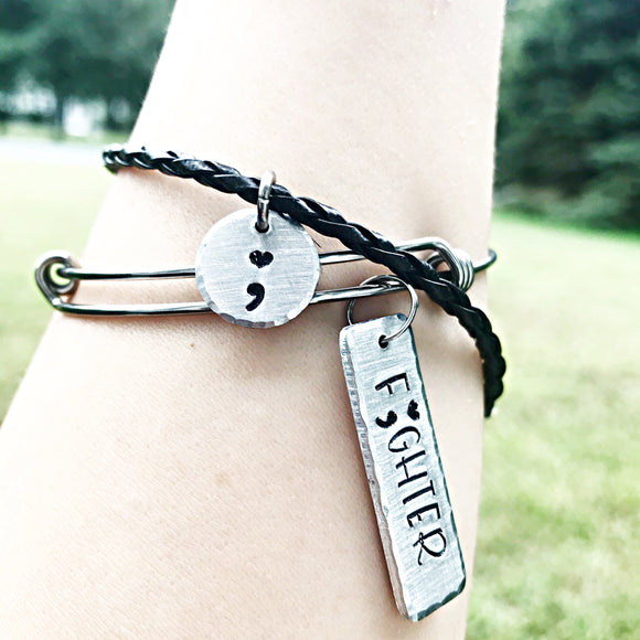 My Story Isn't Over Yet Hand Stamped Custom Fighter Bangle Bracelet - Lasting Impressions CT