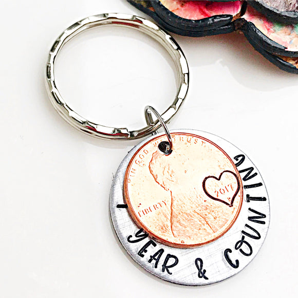 Anniversary Penny Keychain, One Year and Counting, Penny Keychain, Anniversary Wedding Gifts - Lasting Impressions CT