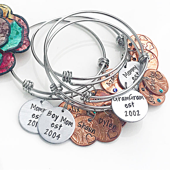 Penny Bangle for Mom, Mom Established Dates, Penny Jewelry