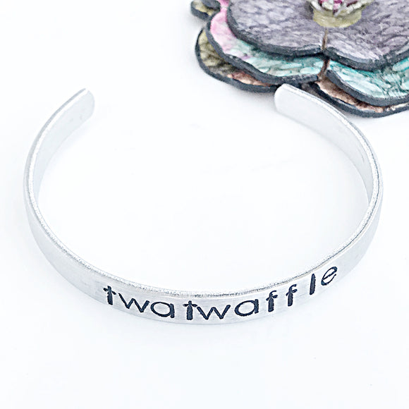Funny Handstamped Cuff Bracelet, Twatwaffle, Funny Friend Gift, Personalized Cuff Bracelet, Gifts for Friends, Funny Words - Lasting Impressions CT