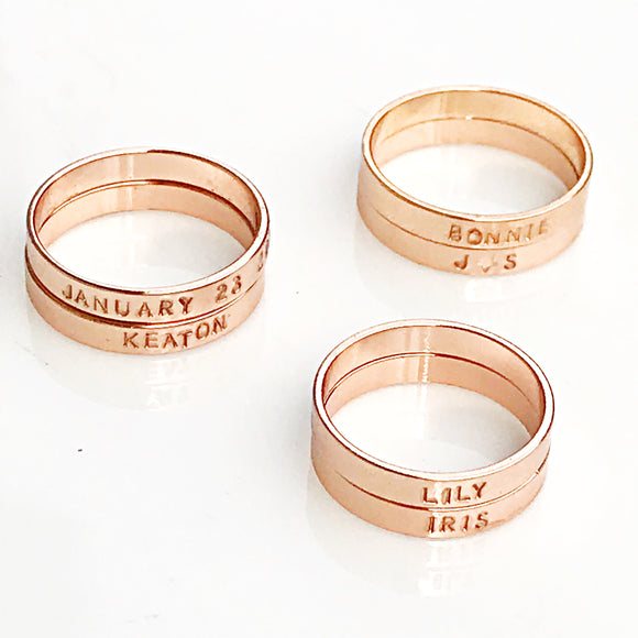 Rose Gold Ring Plated Brass Personalized and Hand Stamped
