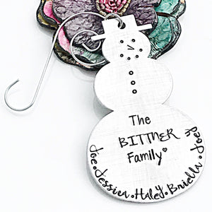 Snowman Personalized Christmas Ornament, Handstamped Family Christmas Ornament - Lasting Impressions CT